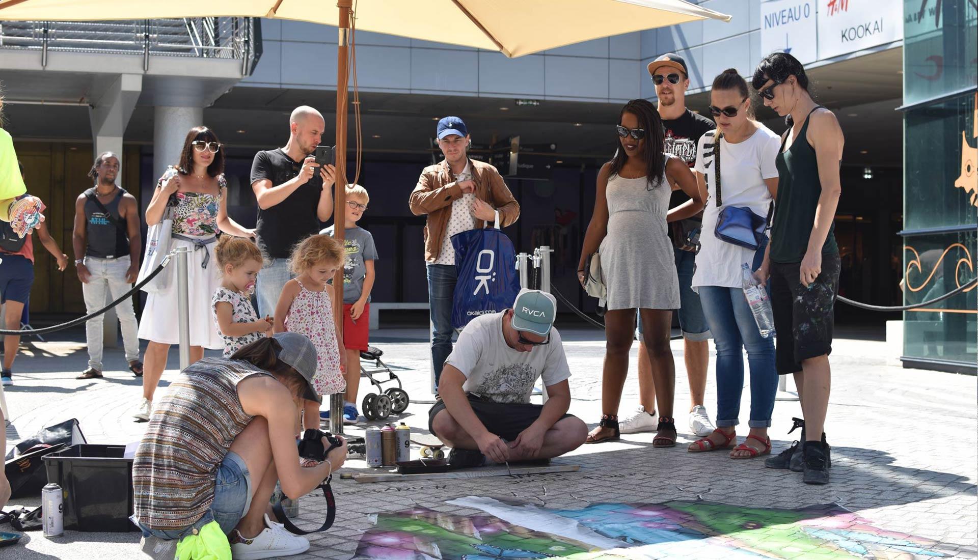 Odysseum Cercle Rouhe Agence The Stories Klepierre Sweo et Nikita Street Art