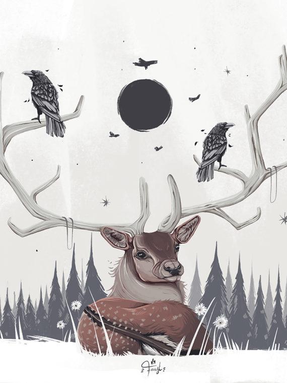 Faust Artstation 2021 Print Dark Moon Rising Edition limité 30x40